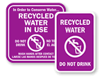 Recycled Water Warning Signs