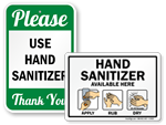 Hand Sanitizer Signs