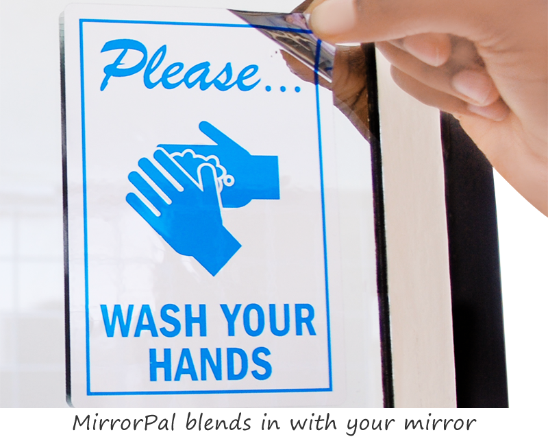 wash your hands sticker for mirror