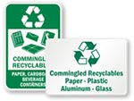 Commingled Recycling Signs