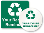 Custom Recycle Signs and Labels