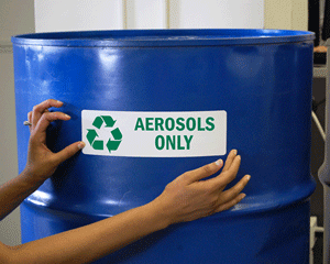 Aerosol disposal and recycling label