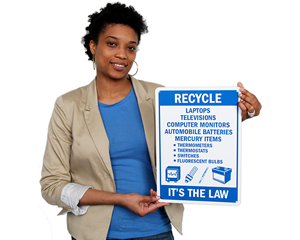 Electronic and e-waste recycling sign
