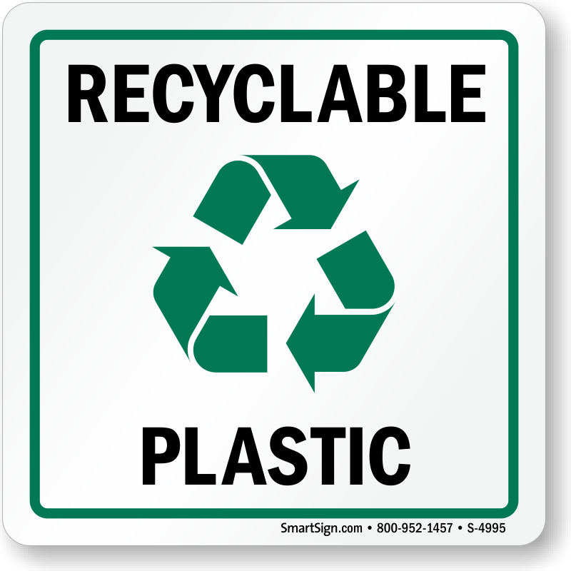 Recycle Plastic Label (with graphic), SKU: S-4995