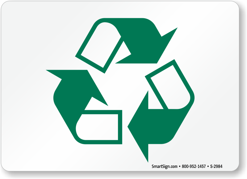 Recyclable Symbol Signs, Recycling Signs Labels, SKU: S-2984