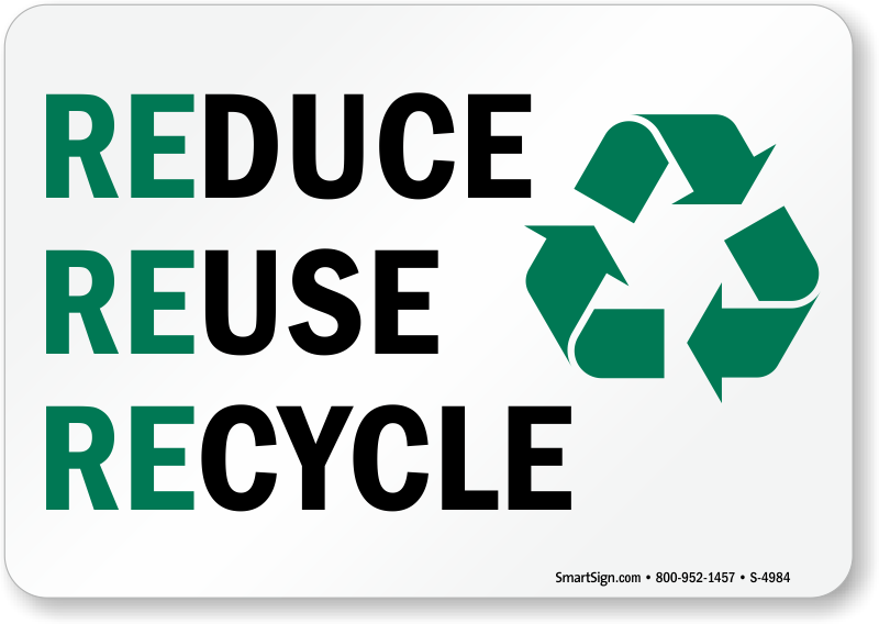 reuse reduce recycle sign with graphic sku s4984