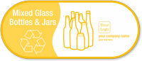 Mixed Glass Bottles, Jars Personalized Vinyl Recycling Sticker