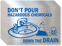 Don't Pour Hazardous Chemicals Label