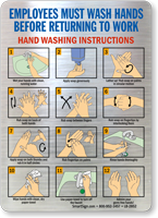 Employees Hand Washing Instructions Mirror Decal