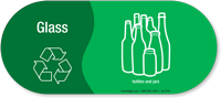 Glass, Bottles Jars Vinyl Recycling Sticker with Symbol