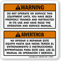 Bilingual Dump Truck Operation Warning Label