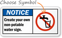 Notice (ANSI)Create your own non-potable water sign
