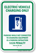 Electric Vehicle Charging Only Sign with Graphic