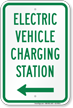 Electric Vehicle Charging Station At Left Sign