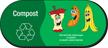 Compost, Food-Related Paper No Plastics Vinyl Recycling Sticker