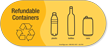 Refundable Containers, Plastic Bottles Cans Vinyl Recycling Sticker
