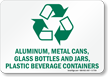 Aluminum, Metal Cans, Glass Bottles Recycle Sign