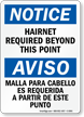 Bilingual Hairnet Required Beyond This Point Sign