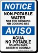 Bilingual Notice Non-Potable Water Sign