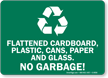 Flattened Cardboard, Plastic, Cans, No Garbage Sign