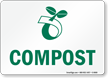 Recycling Composting Sign With Compost Symbol Sign