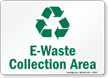 E-Waste Collection Area With Recycle Symbol Sign