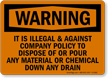 Warning Illegal Dispose Pour Chemical Sign