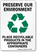 Preserve Our Environment Place Recyclable Products Sign