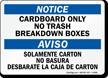 Bilingual Cardboard Only No Trash Notice Aviso Sign