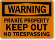 Warning Private Property Sign