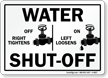 Right Off, Left On Water Shut Off Sign