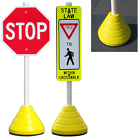 Yellow Recycled Rubber Sign Base with PVC post