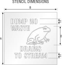 Dump No Waste Drains To Stream Floor Stencil Sku St 0164
