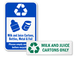 Milk and Juice Cartons Signs