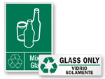 Recycle Glass Bottles Signs