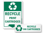Recycle Print Cartridges Signs