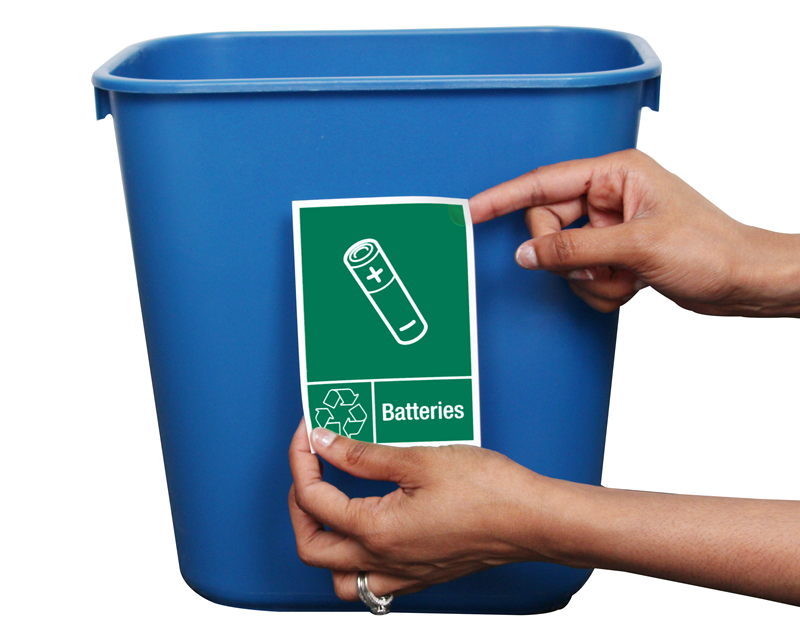 picture relating to Free Printable Hazardous Waste Labels called Battery Recycling Signs and symptoms and Labels