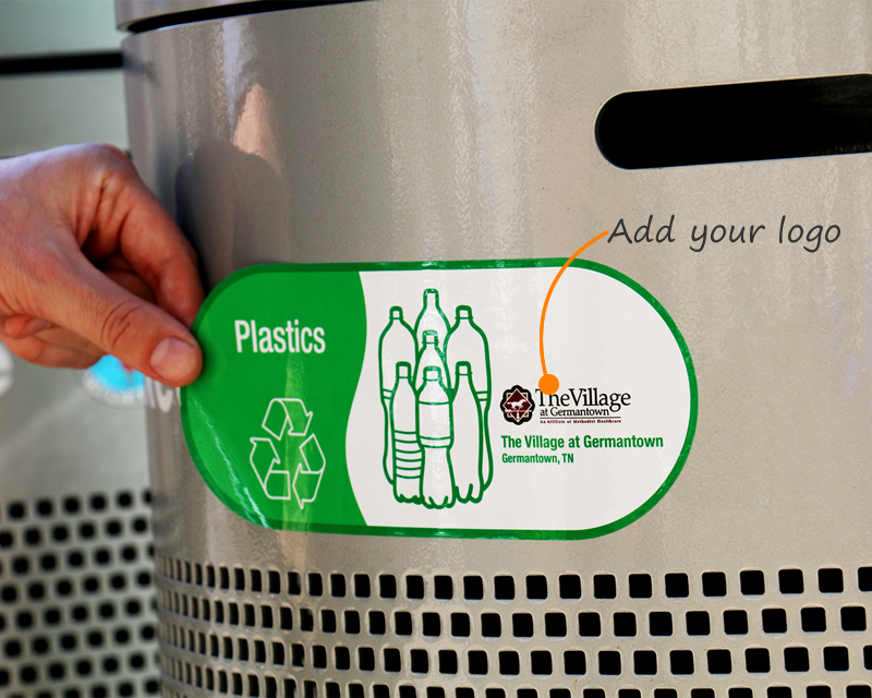 Paper Plastic Bottles Cans And Textiles Recycling Bin Sticker Recycle  Stickers For Bins