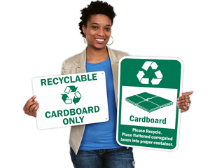 Recycle Cardboard Signs & Labels