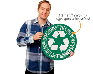 Circular recycle sign with custom text
