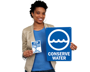 Conserve Water Signs and Labels