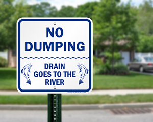 Drains to river sign