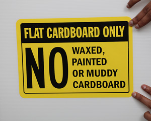 Flat Cardboard Only Dumpster Rules Sign