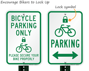 Lock and park your bike signs