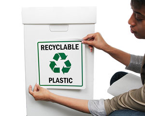 Plastics recycle signs