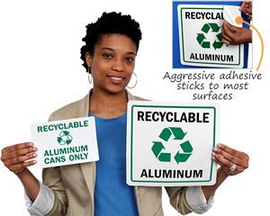 Recycle aluminum labels and signs