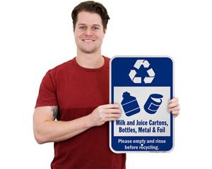 Recycle Milk and Juice Cartons, Bottles, Metal & Foil Sign