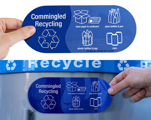Stickers for commingled recyclables