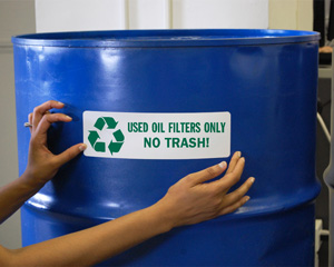 Used Oil Filters Only No Trash Recycle Label