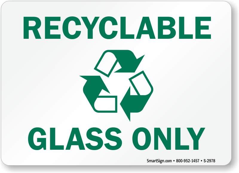 Recycle Glass Bottles Signs Labels